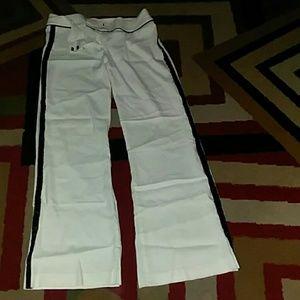 White&Black accented linen pants